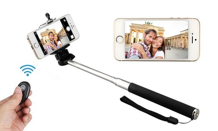 selfie stick with remote at flat 50 off groupon deal promo code club. Black Bedroom Furniture Sets. Home Design Ideas
