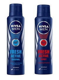 Nivea Deo Fresh Active Original/Burst Pack Of 2 for Rs 209